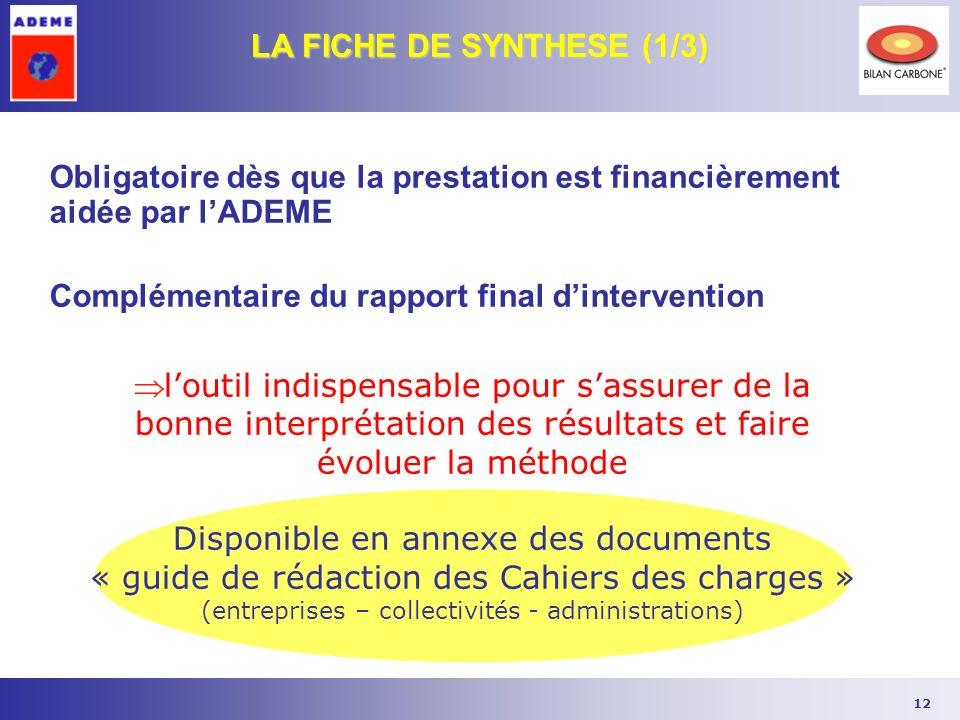 12 Obligatoire dès que la prestation est financièrement aidée par lADEME Complémentaire du rapport final dintervention LA FICHE DE SYNTHESE (1/3) lout