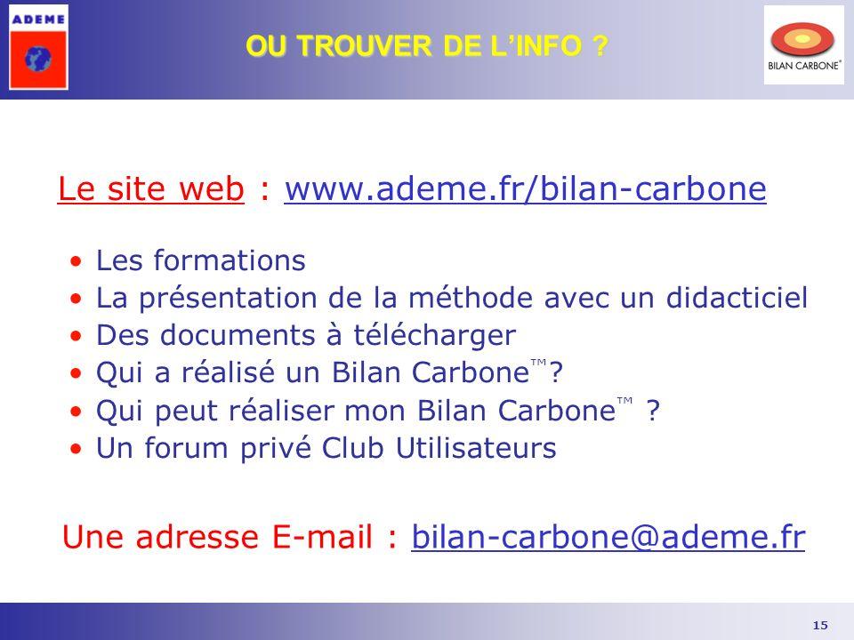 15 Le site web : www.ademe.fr/bilan-carbone Les formations La présentation de la méthode avec un didacticiel Des documents à télécharger Qui a réalisé