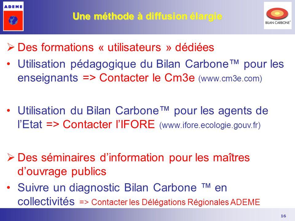 16 Une méthode à diffusion élargie Des formations « utilisateurs » dédiées Utilisation pédagogique du Bilan Carbone pour les enseignants => Contacter