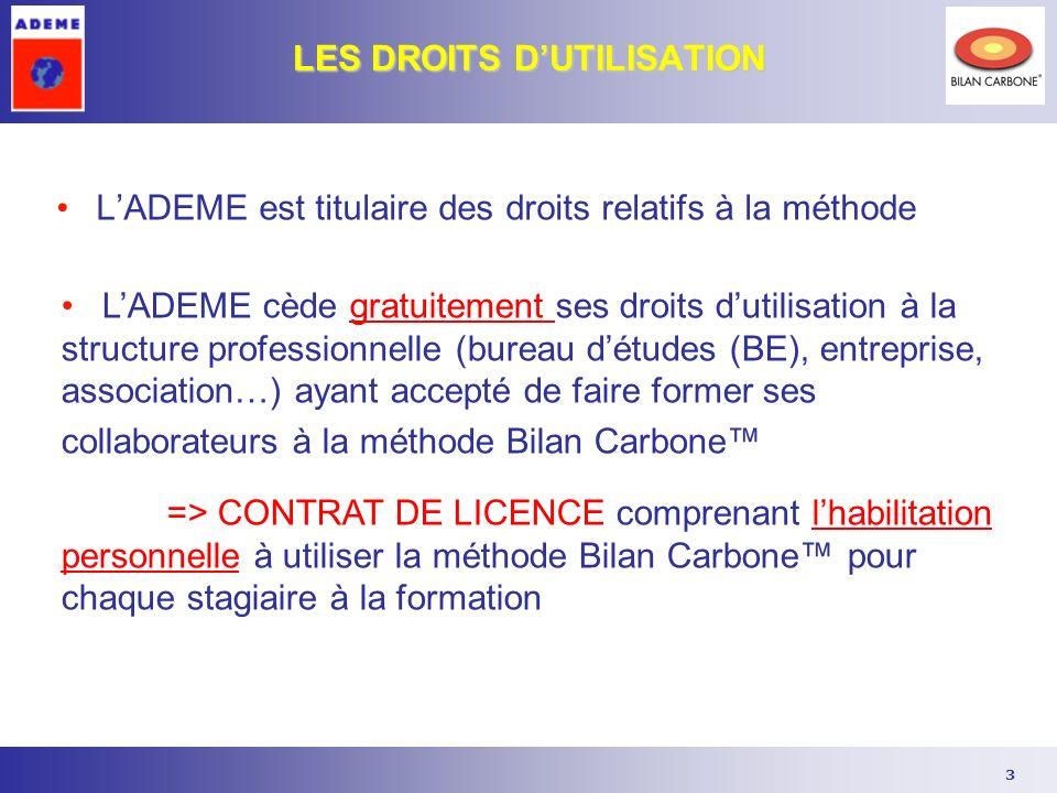 3 LES DROITS DUTILISATION LADEME cède gratuitement ses droits dutilisation à la structure professionnelle (bureau détudes (BE), entreprise, associatio