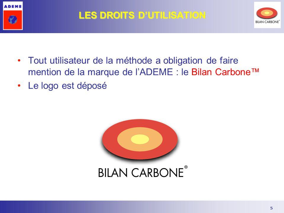5 LES DROITS DUTILISATION Tout utilisateur de la méthode a obligation de faire mention de la marque de lADEME : le Bilan Carbone Le logo est déposé