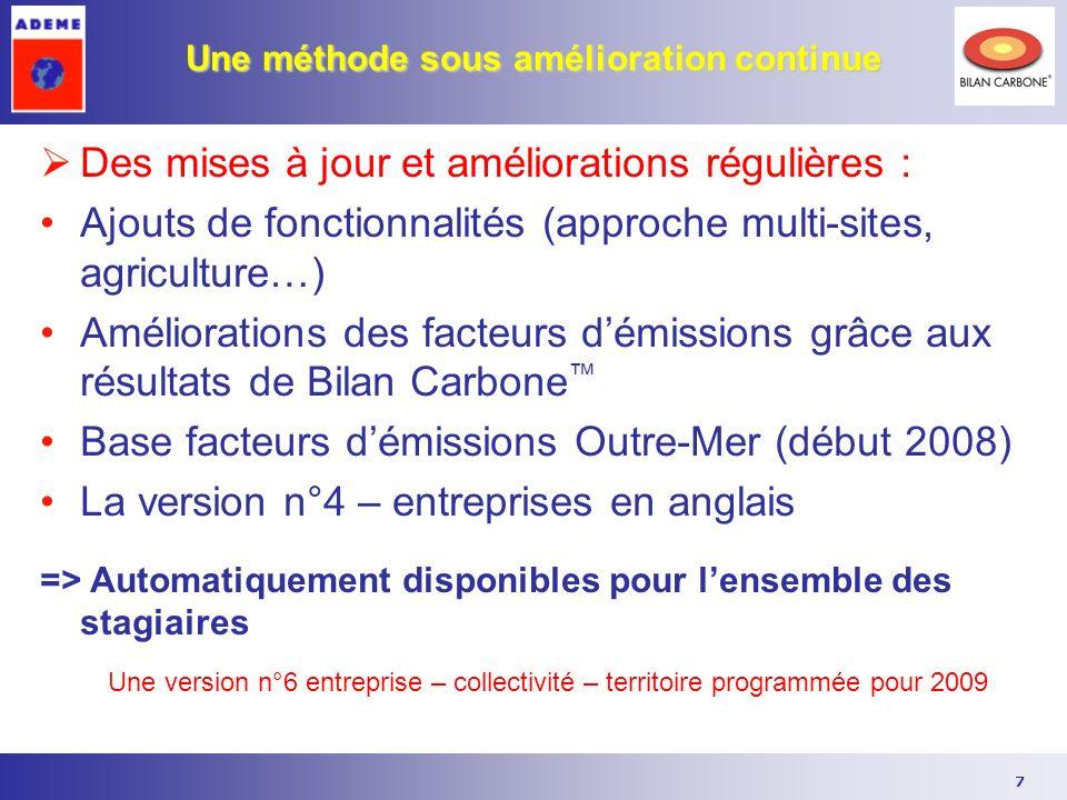 7 Une méthode sous amélioration continue Des mises à jour et améliorations régulières : Ajouts de fonctionnalités (approche multi-sites, agriculture…)