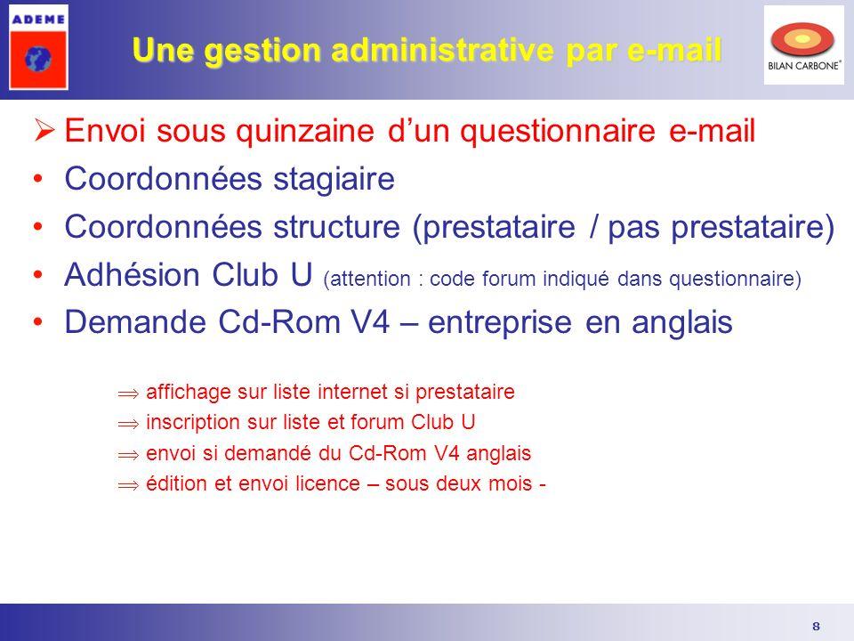 8 Une gestion administrative par e-mail Envoi sous quinzaine dun questionnaire e-mail Coordonnées stagiaire Coordonnées structure (prestataire / pas p
