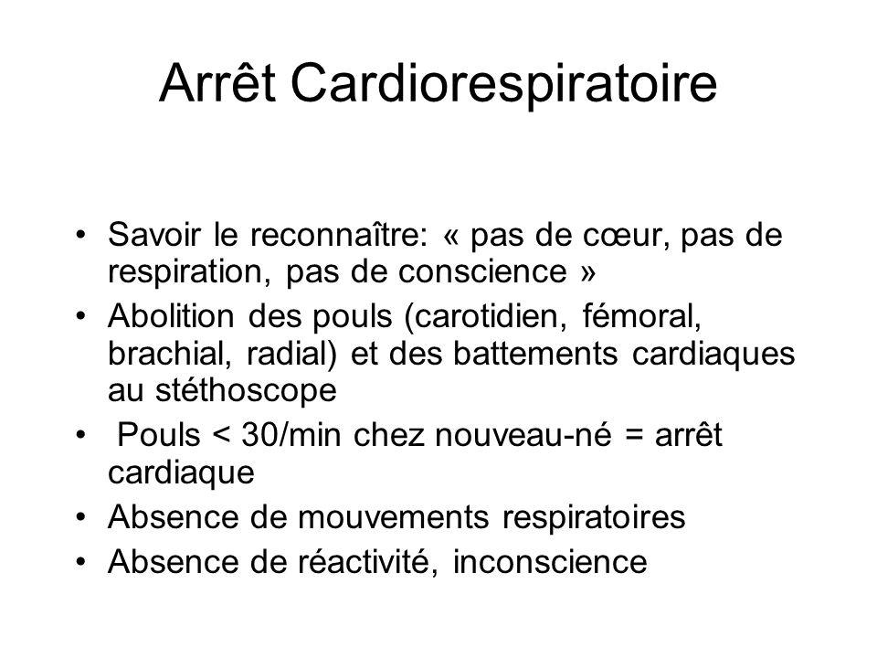 Arrêt Cardiorespiratoire Savoir le reconnaître: « pas de cœur, pas de respiration, pas de conscience » Abolition des pouls (carotidien, fémoral, brach