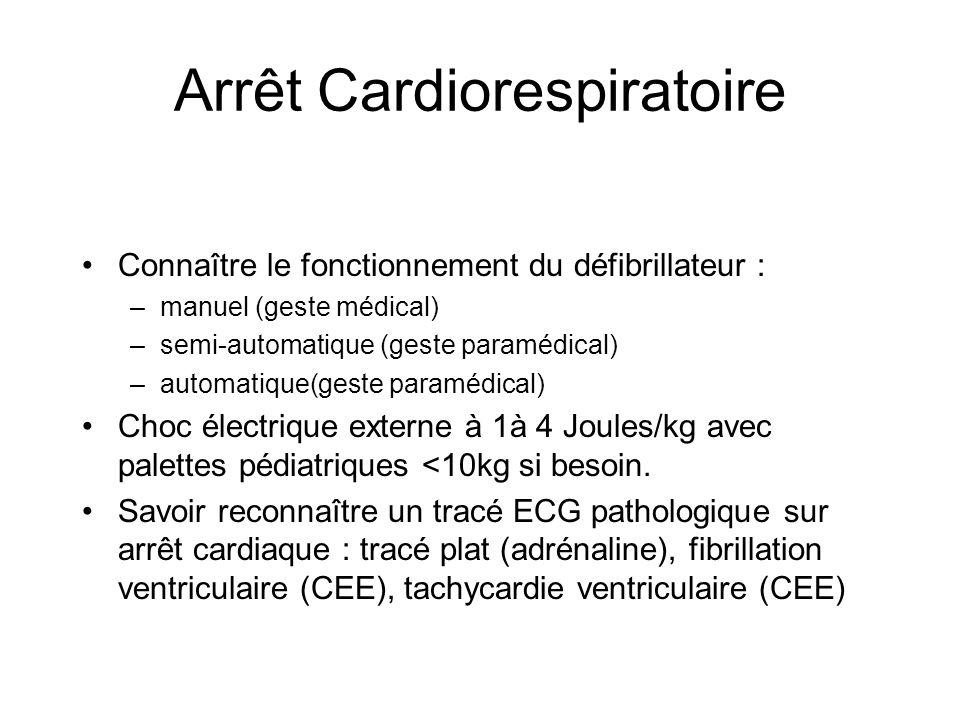Arrêt Cardiorespiratoire Connaître le fonctionnement du défibrillateur : –manuel (geste médical) –semi-automatique (geste paramédical) –automatique(ge