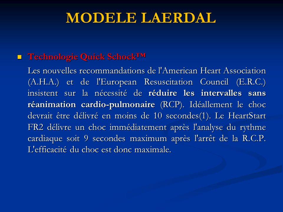 MODELE LAERDAL Technologie Quick Schock Technologie Quick Schock Les nouvelles recommandations de l'American Heart Association (A.H.A.) et de l'Europe