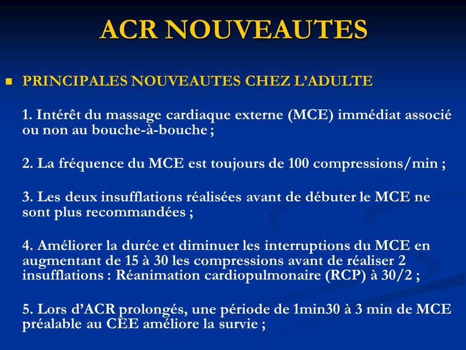 ACR NOUVEAUTES PRINCIPALES NOUVEAUTES CHEZ LADULTE 1. Intérêt du massage cardiaque externe (MCE) immédiat associé ou non au bouche-à-bouche ; 2. La fr