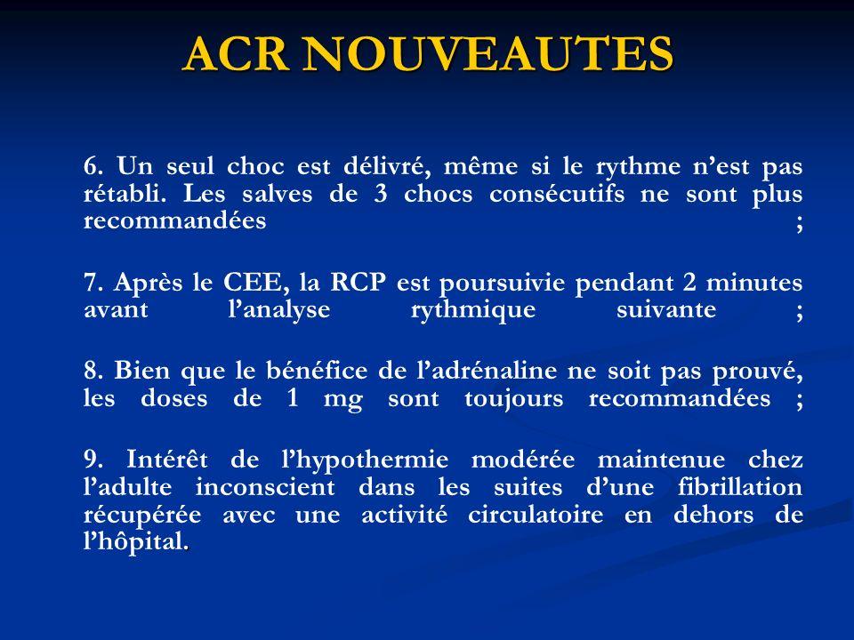 ACR NOUVEAUTES Chez lenfant : La RCP à un secouriste seul comportera un rapport compression/ventilation de 30/2, la RCP à 2 secouristes un rapport de 15/2.
