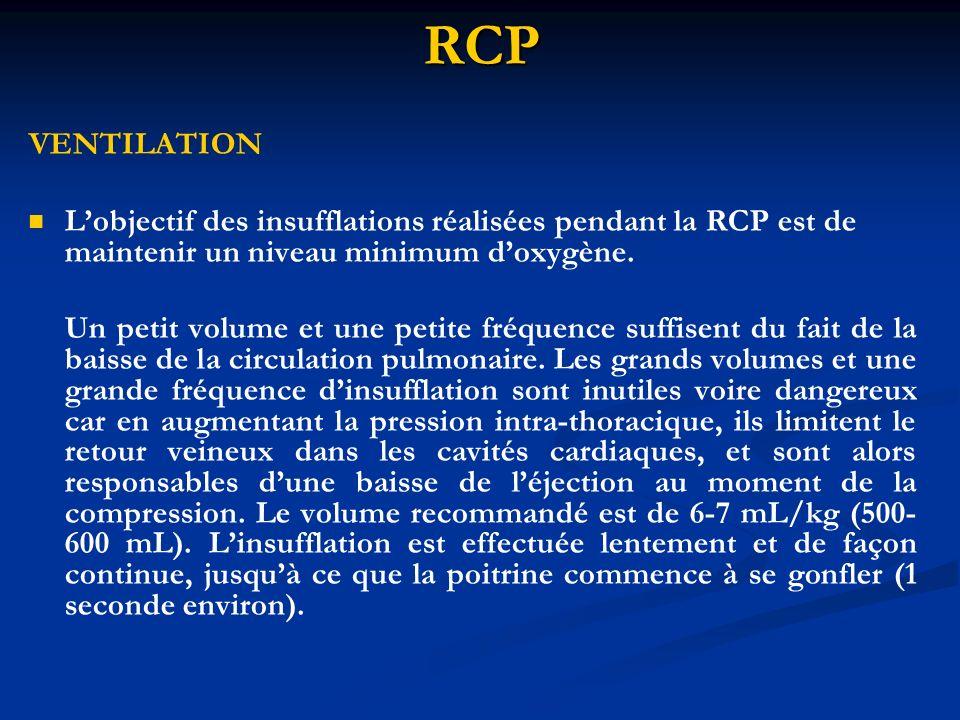 RCP VENTILATION Lobjectif des insufflations réalisées pendant la RCP est de maintenir un niveau minimum doxygène. Un petit volume et une petite fréque