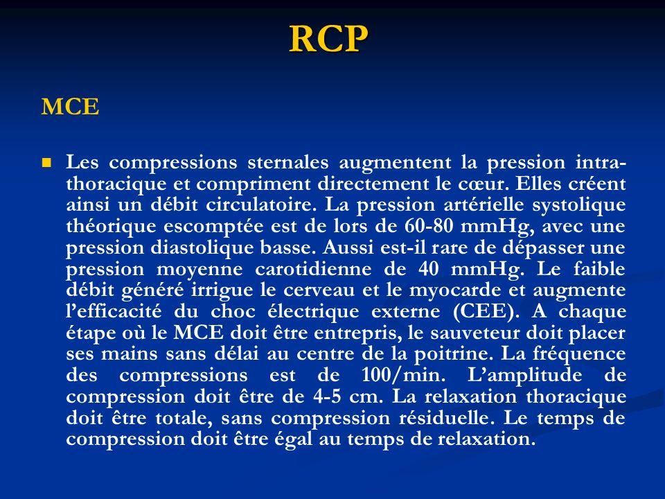 RCP MCE Les compressions sternales augmentent la pression intra- thoracique et compriment directement le cœur. Elles créent ainsi un débit circulatoir