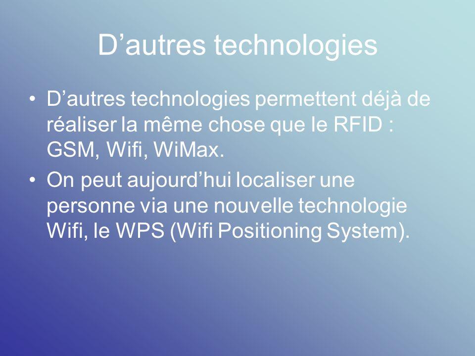 Dautres technologies Dautres technologies permettent déjà de réaliser la même chose que le RFID : GSM, Wifi, WiMax. On peut aujourdhui localiser une p