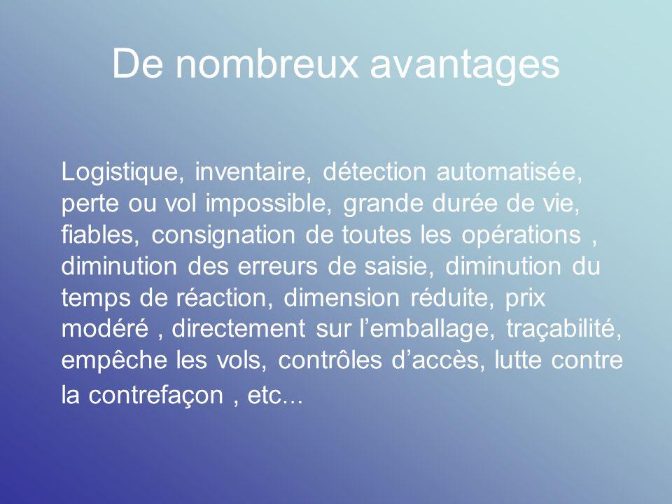 De nombreux avantages Logistique, inventaire, détection automatisée, perte ou vol impossible, grande durée de vie, fiables, consignation de toutes les