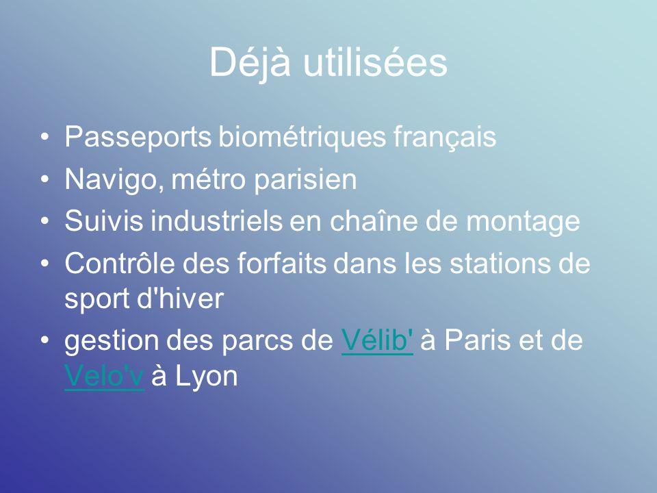 Déjà utilisées Passeports biométriques français Navigo, métro parisien Suivis industriels en chaîne de montage Contrôle des forfaits dans les stations