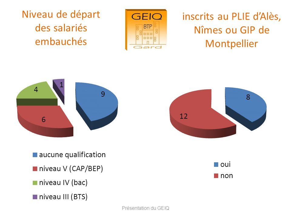 Niveau de départ des salariés embauchés Présentation du GEIQ inscrits au PLIE dAlès, Nîmes ou GIP de Montpellier