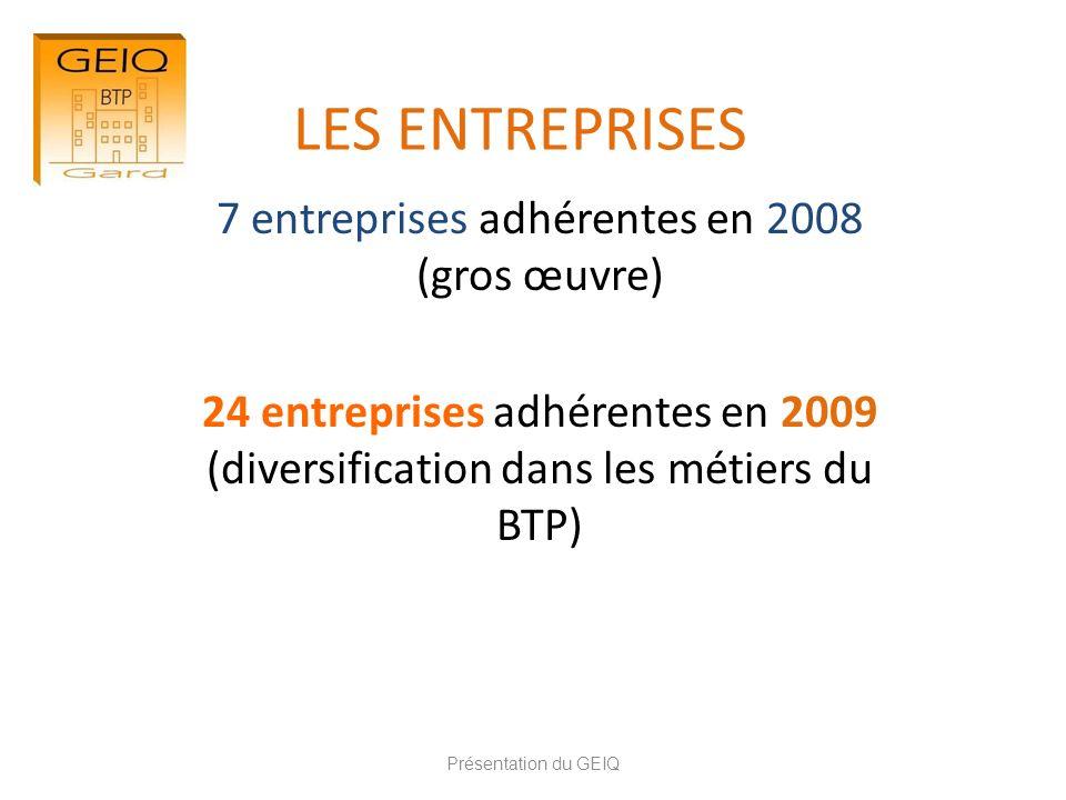 LES ENTREPRISES 7 entreprises adhérentes en 2008 (gros œuvre) 24 entreprises adhérentes en 2009 (diversification dans les métiers du BTP) Présentation