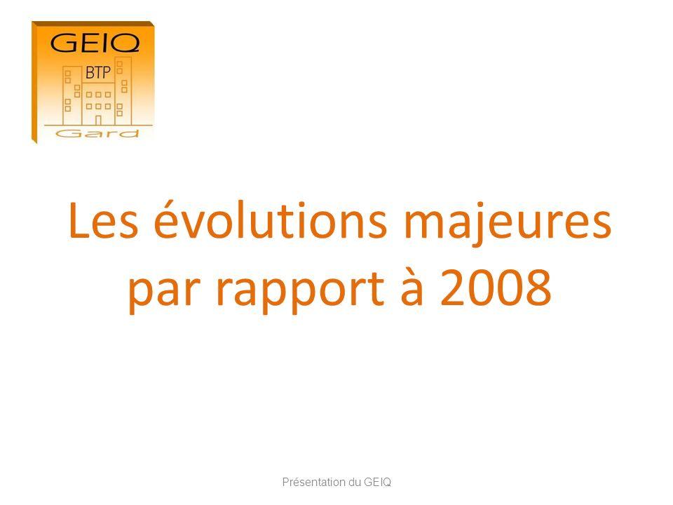 Les évolutions majeures par rapport à 2008 Présentation du GEIQ