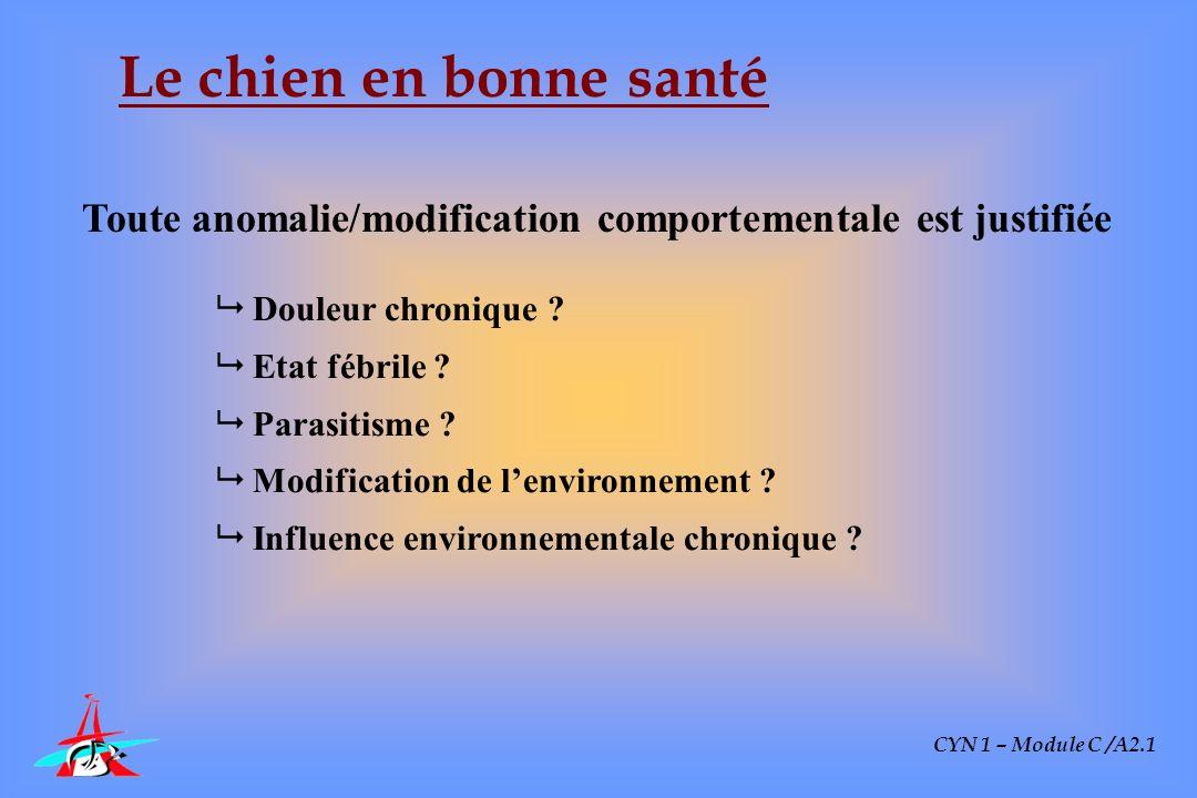 CYN 1 – Module C /A2.1 Le chien en bonne santé Toute anomalie/modification comportementale est justifiée Douleur chronique ? Etat fébrile ? Parasitism