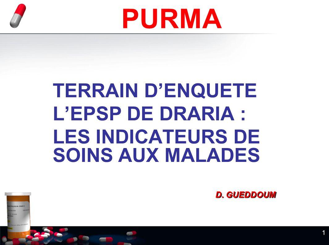 1 TERRAIN DENQUETE LEPSP DE DRARIA : LES INDICATEURS DE SOINS AUX MALADES D. GUEDDOUM D. GUEDDOUM PURMA