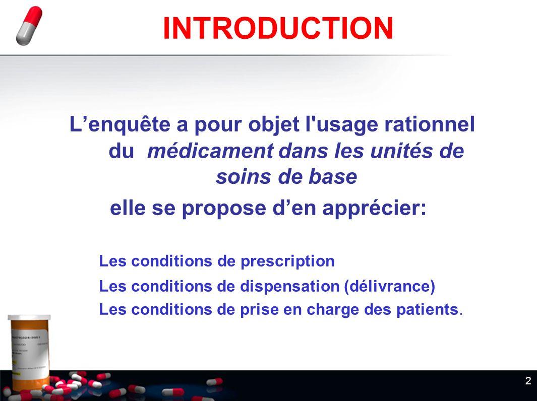 2 INTRODUCTION Lenquête a pour objet l'usage rationnel du médicament dans les unités de soins de base elle se propose den apprécier: Les conditions de