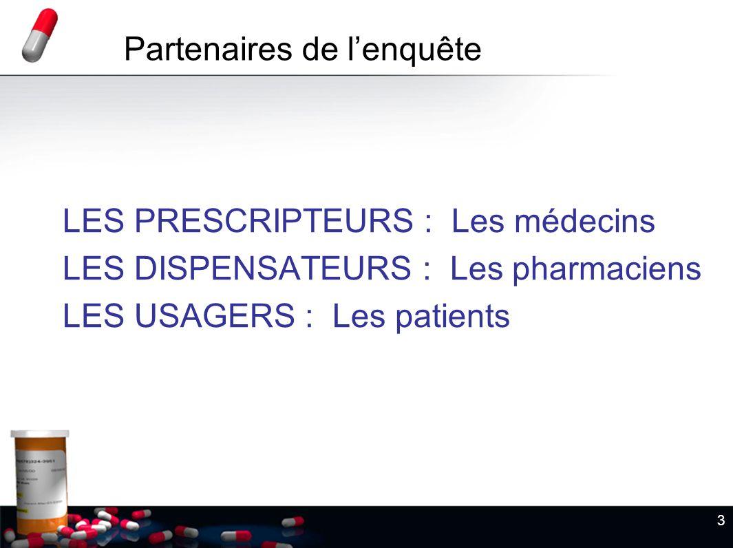3 LES PRESCRIPTEURS : Les médecins LES DISPENSATEURS : Les pharmaciens LES USAGERS : Les patients Partenaires de lenquête