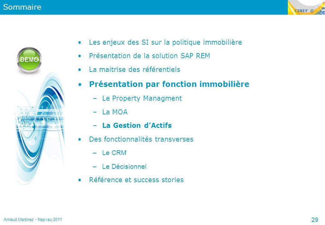 CIREF © Sommaire Les enjeux des SI sur la politique immobilière Présentation de la solution SAP REM La maitrise des référentiels Présentation par fonc