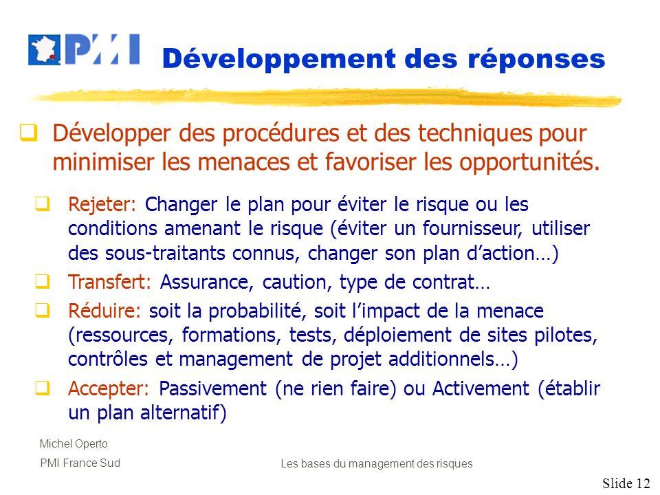 Slide 12 Michel Operto PMI France SudLes bases du management des risques Développement des réponses Développer des procédures et des techniques pour m