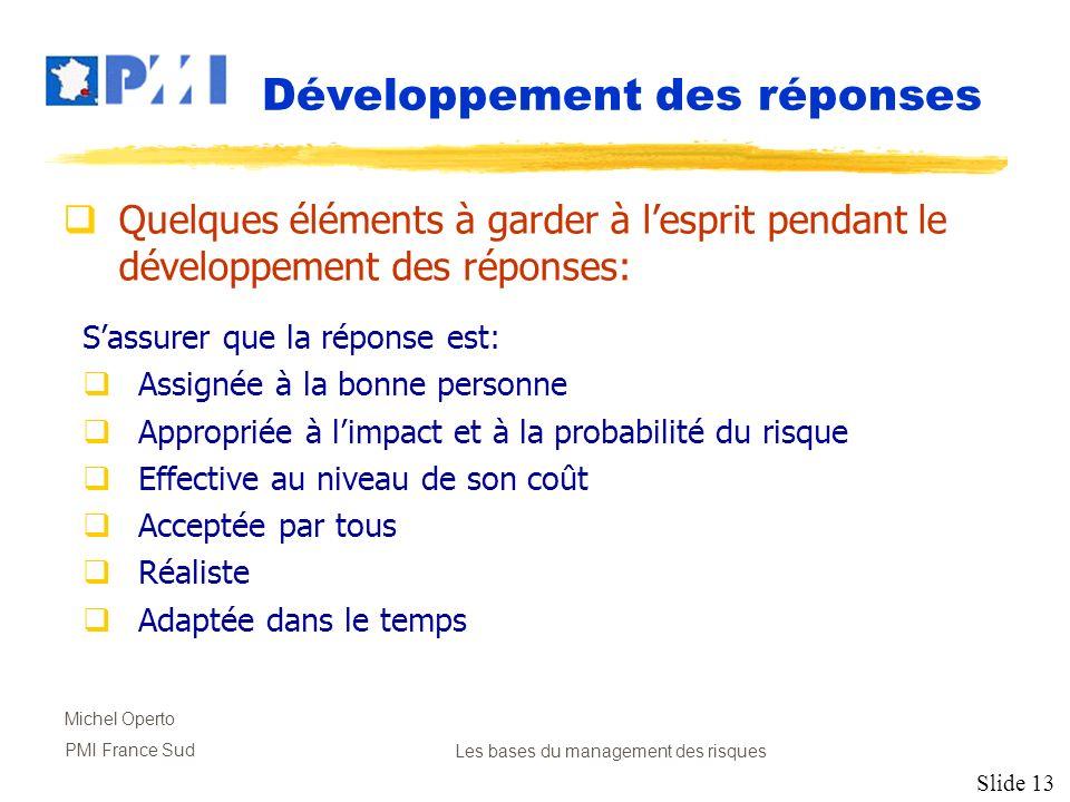 Slide 13 Michel Operto PMI France SudLes bases du management des risques Développement des réponses Quelques éléments à garder à lesprit pendant le dé