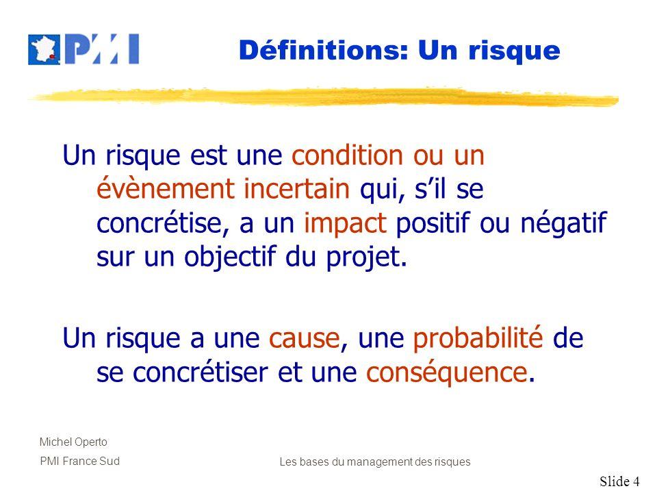 Slide 4 Michel Operto PMI France SudLes bases du management des risques Un risque est une condition ou un évènement incertain qui, sil se concrétise,
