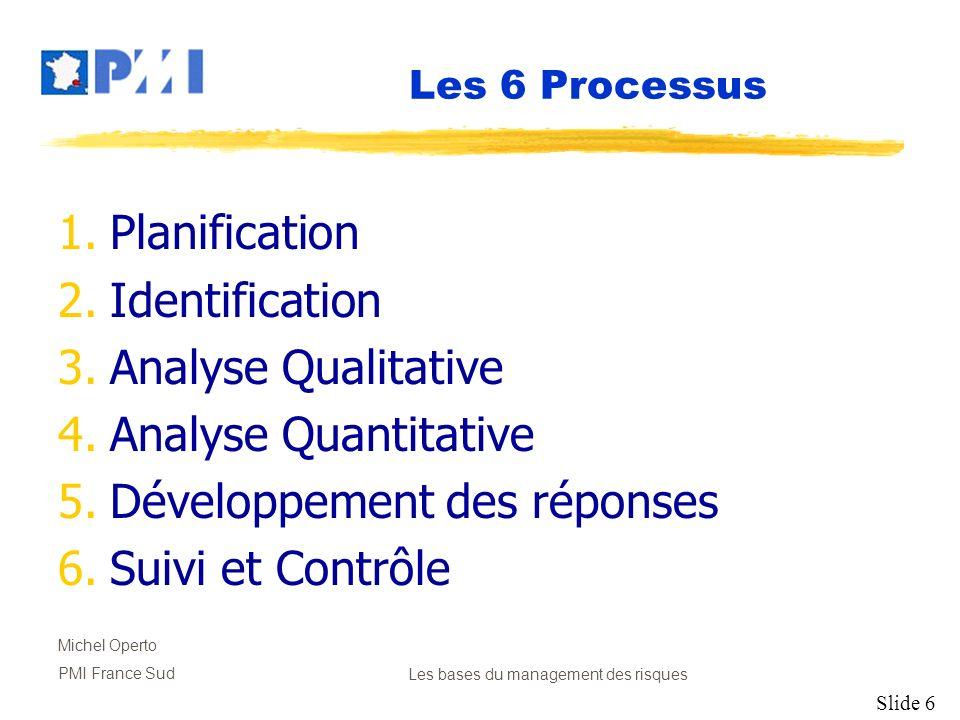 Slide 7 Michel Operto PMI France SudLes bases du management des risques Planification Décider la marche à suivre et planifier les activités de projet concernant le management des risques.