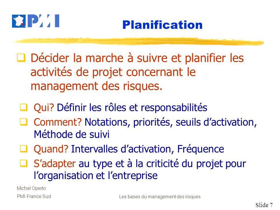 Slide 7 Michel Operto PMI France SudLes bases du management des risques Planification Décider la marche à suivre et planifier les activités de projet