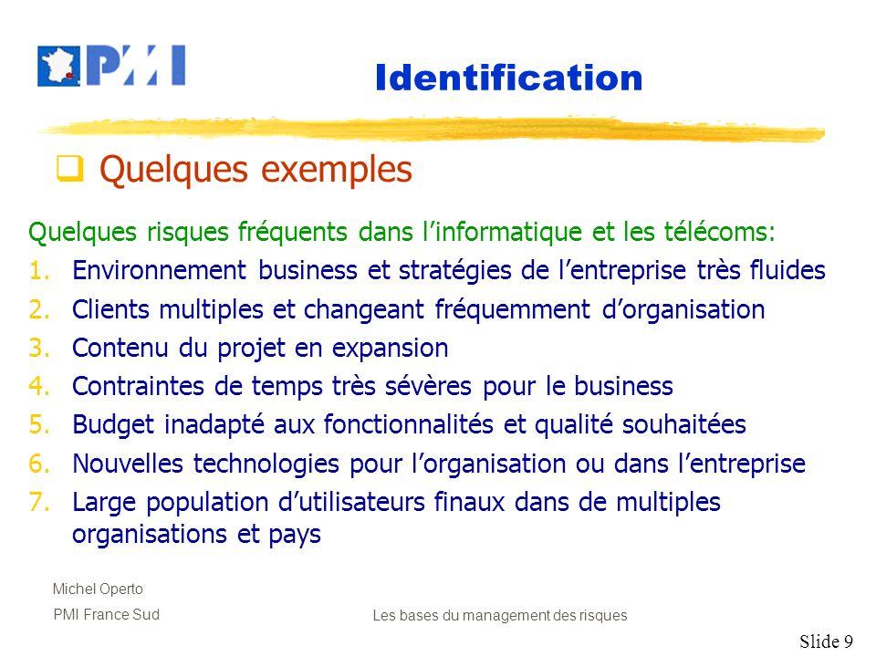Slide 9 Michel Operto PMI France SudLes bases du management des risques Quelques risques fréquents dans linformatique et les télécoms: 1.Environnement
