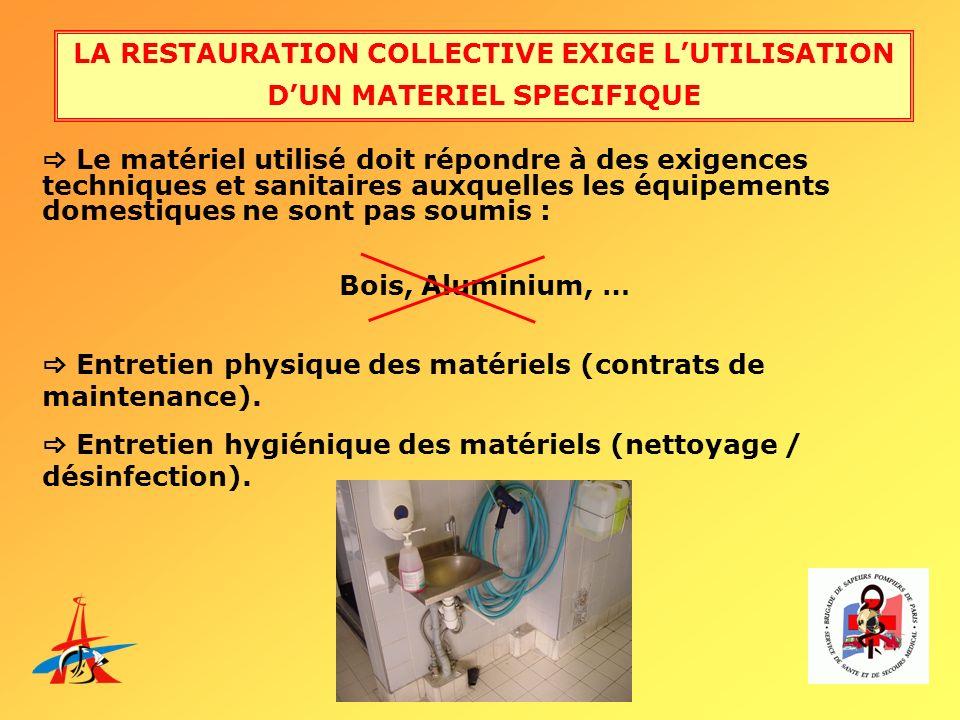 LA RESTAURATION COLLECTIVE EXIGE LUTILISATION DUN MATERIEL SPECIFIQUE Le matériel utilisé doit répondre à des exigences techniques et sanitaires auxqu