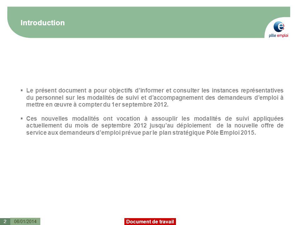 Document de travail Introduction 06/01/20142 Le présent document a pour objectifs dinformer et consulter les instances représentatives du personnel sur les modalités de suivi et daccompagnement des demandeurs demploi à mettre en œuvre à compter du 1er septembre 2012.