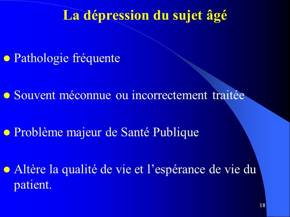 18 La dépression du sujet âgé Pathologie fréquente Souvent méconnue ou incorrectement traitée Problème majeur de Santé Publique Altère la qualité de vie et lespérance de vie du patient.