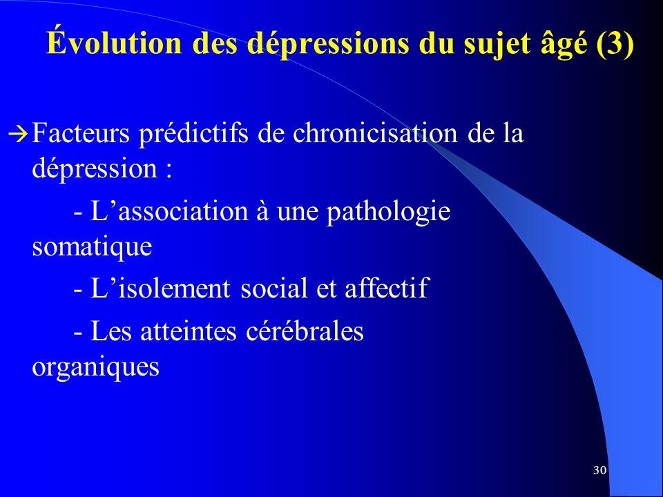 30 Évolution des dépressions du sujet âgé (3) Facteurs prédictifs de chronicisation de la dépression : - Lassociation à une pathologie somatique - Lisolement social et affectif - Les atteintes cérébrales organiques