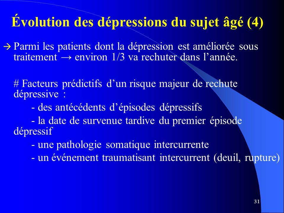 31 Évolution des dépressions du sujet âgé (4) Parmi les patients dont la dépression est améliorée sous traitement environ 1/3 va rechuter dans lannée.