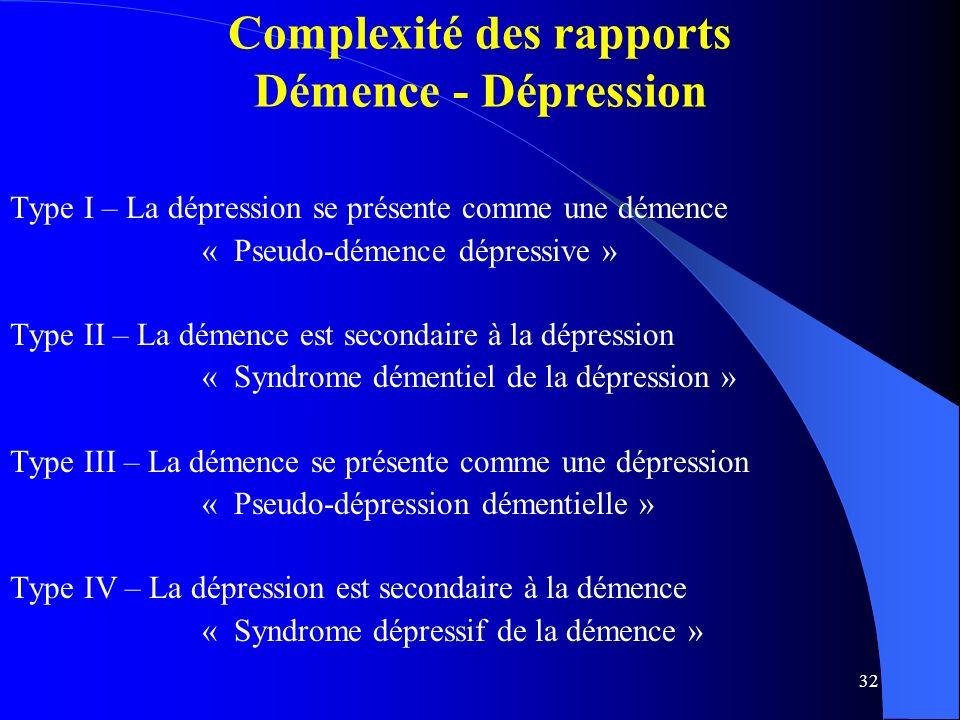 32 Complexité des rapports Démence - Dépression Type I – La dépression se présente comme une démence « Pseudo-démence dépressive » Type II – La démence est secondaire à la dépression « Syndrome démentiel de la dépression » Type III – La démence se présente comme une dépression « Pseudo-dépression démentielle » Type IV – La dépression est secondaire à la démence « Syndrome dépressif de la démence »