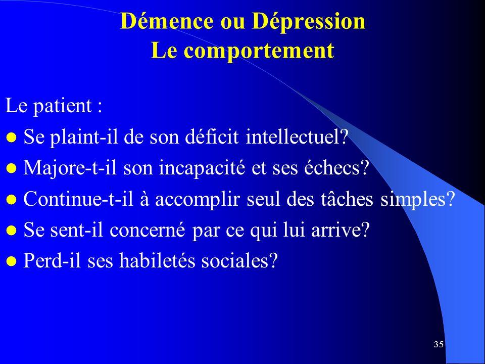 35 Démence ou Dépression Le comportement Le patient : Se plaint-il de son déficit intellectuel.