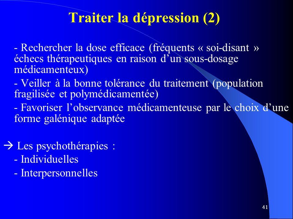 41 Traiter la dépression (2) - Rechercher la dose efficace (fréquents « soi-disant » échecs thérapeutiques en raison dun sous-dosage médicamenteux) - Veiller à la bonne tolérance du traitement (population fragilisée et polymédicamentée) - Favoriser lobservance médicamenteuse par le choix dune forme galénique adaptée Les psychothérapies : - Individuelles - Interpersonnelles