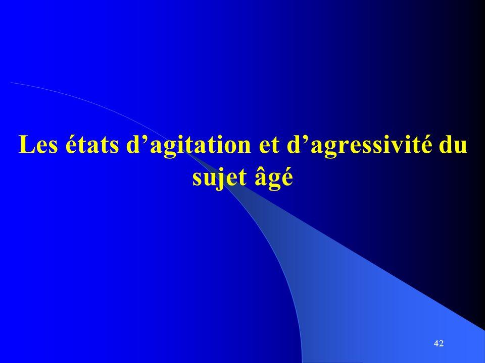 42 Les états dagitation et dagressivité du sujet âgé