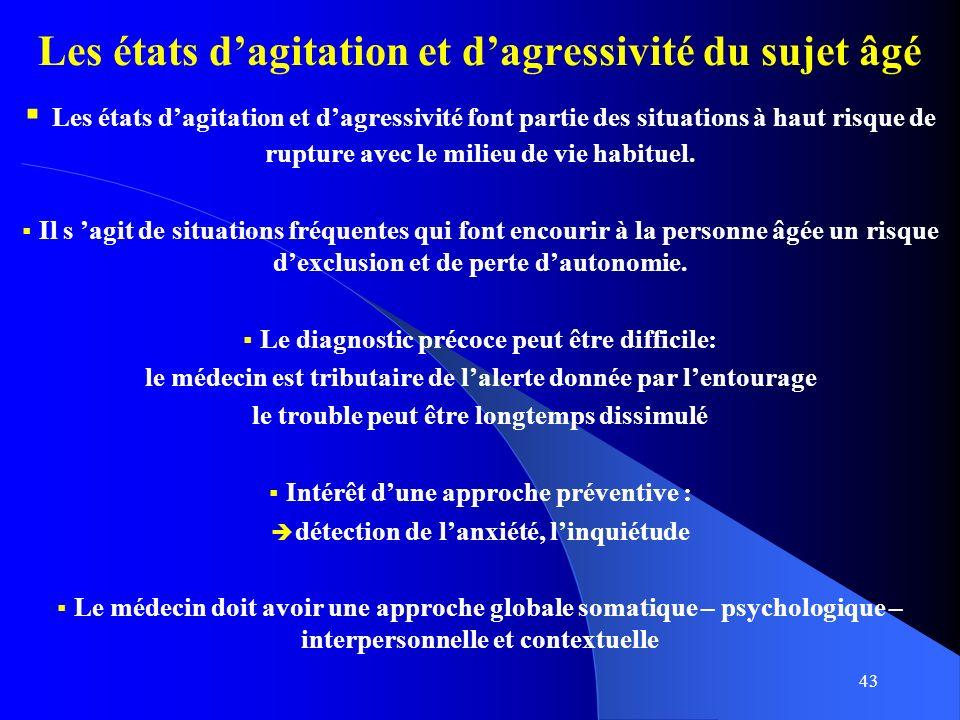 43 Les états dagitation et dagressivité du sujet âgé Les états dagitation et dagressivité font partie des situations à haut risque de rupture avec le milieu de vie habituel.