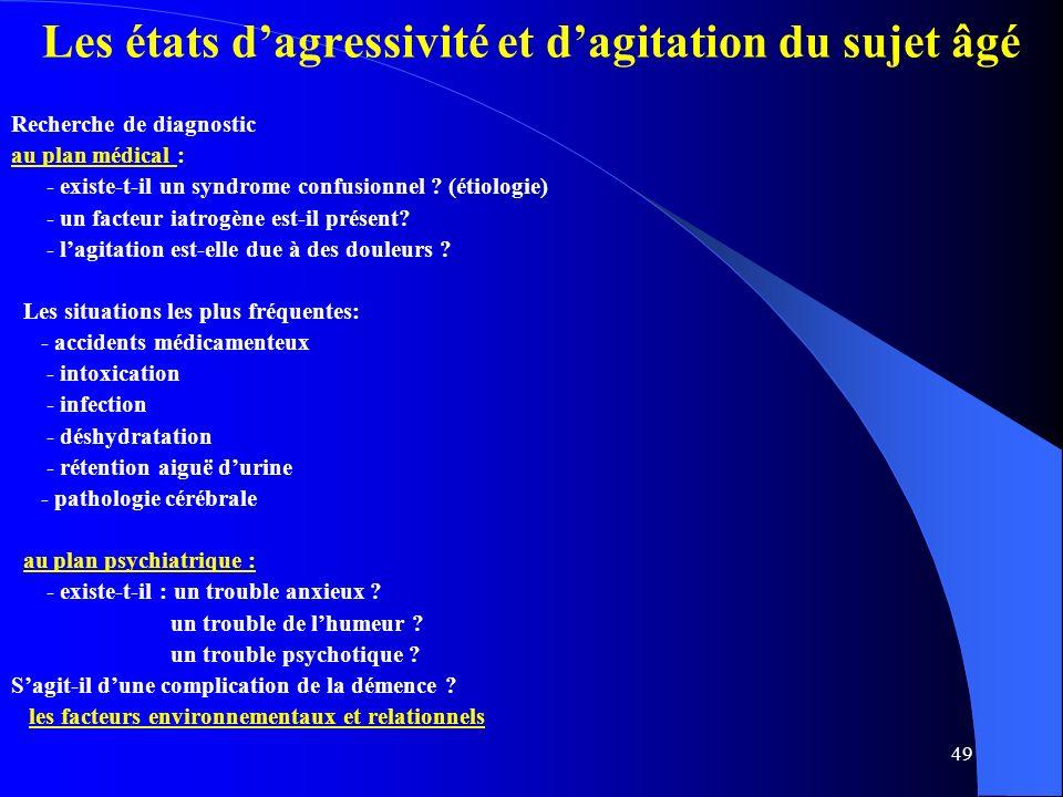 49 Les états dagressivité et dagitation du sujet âgé Recherche de diagnostic au plan médical : - existe-t-il un syndrome confusionnel .