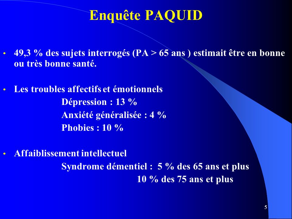 5 Enquête PAQUID 49,3 % des sujets interrogés (PA > 65 ans ) estimait être en bonne ou très bonne santé.