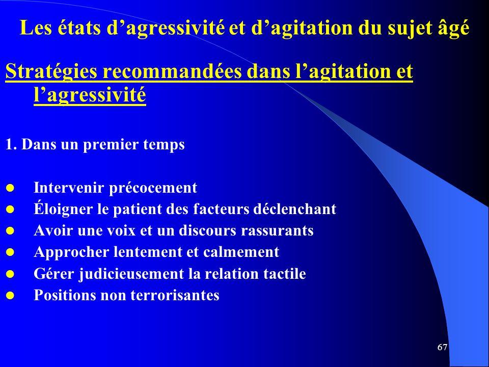 67 Les états dagressivité et dagitation du sujet âgé Stratégies recommandées dans lagitation et lagressivité 1.