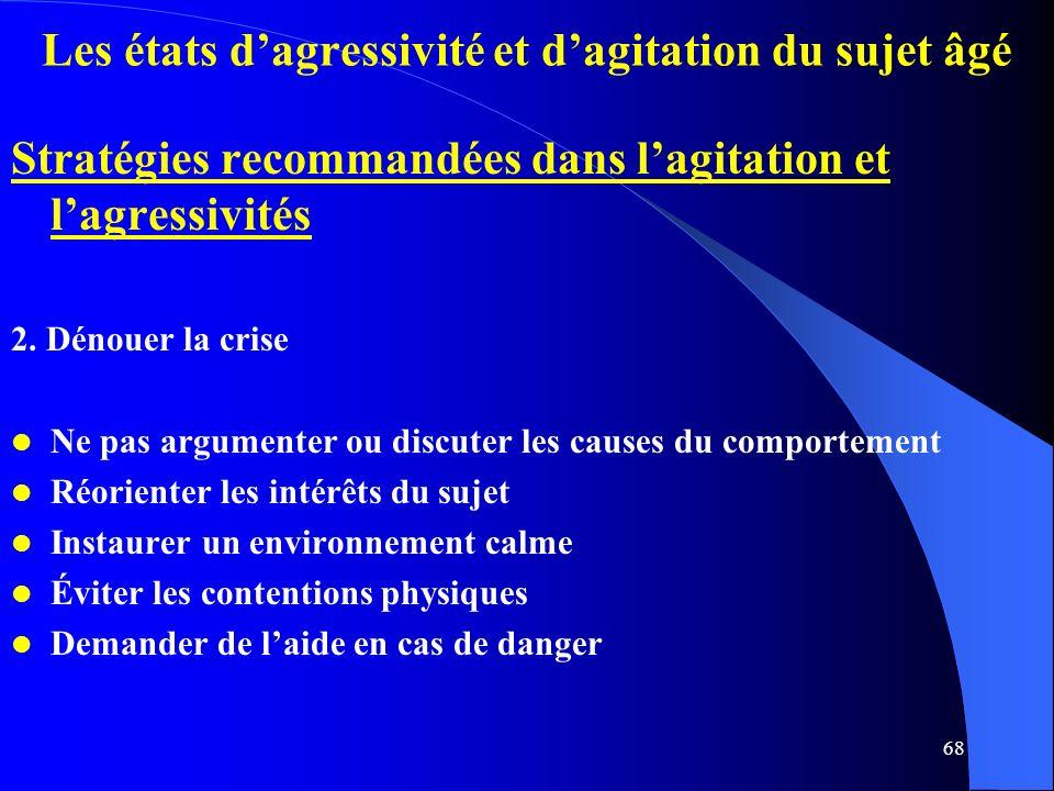 68 Les états dagressivité et dagitation du sujet âgé Stratégies recommandées dans lagitation et lagressivités 2.