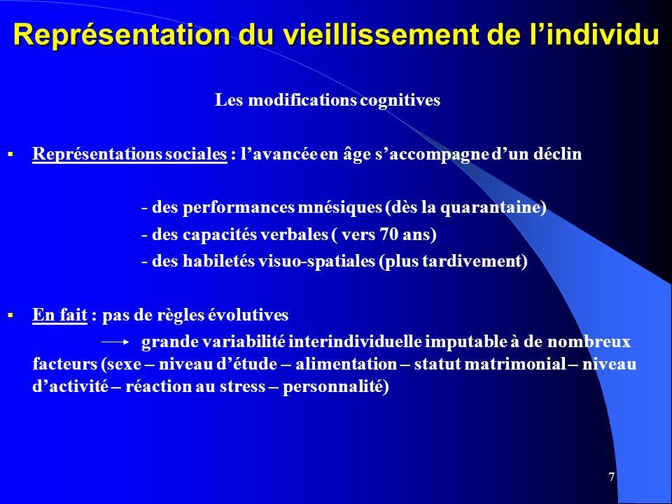 7 Représentation du vieillissement de lindividu Les modifications cognitives Représentations sociales : lavancée en âge saccompagne dun déclin - des performances mnésiques (dès la quarantaine) - des capacités verbales ( vers 70 ans) - des habiletés visuo-spatiales (plus tardivement) En fait : pas de règles évolutives grande variabilité interindividuelle imputable à de nombreux facteurs (sexe – niveau détude – alimentation – statut matrimonial – niveau dactivité – réaction au stress – personnalité)