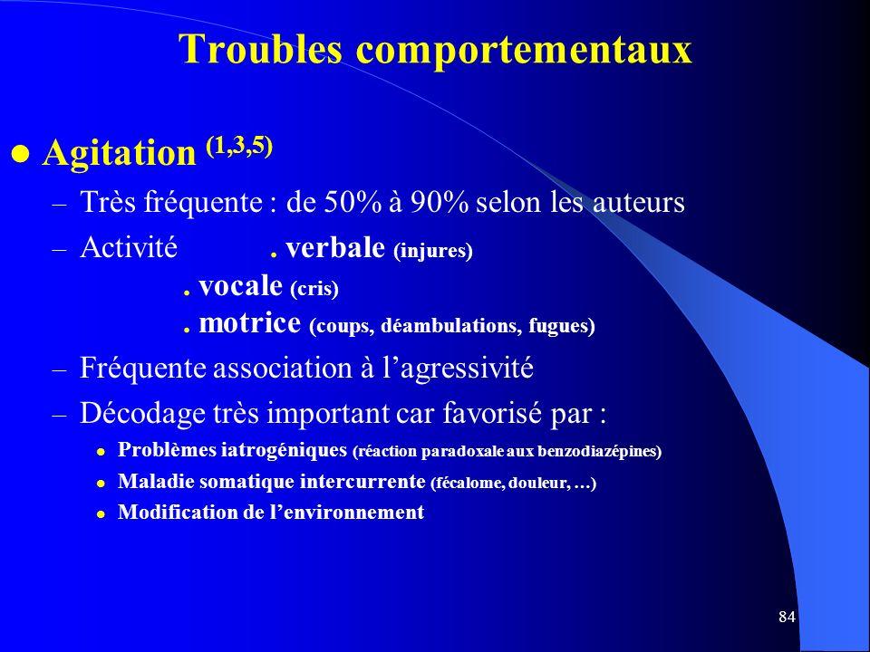 84 Troubles comportementaux Agitation (1,3,5) – Très fréquente : de 50% à 90% selon les auteurs – Activité.