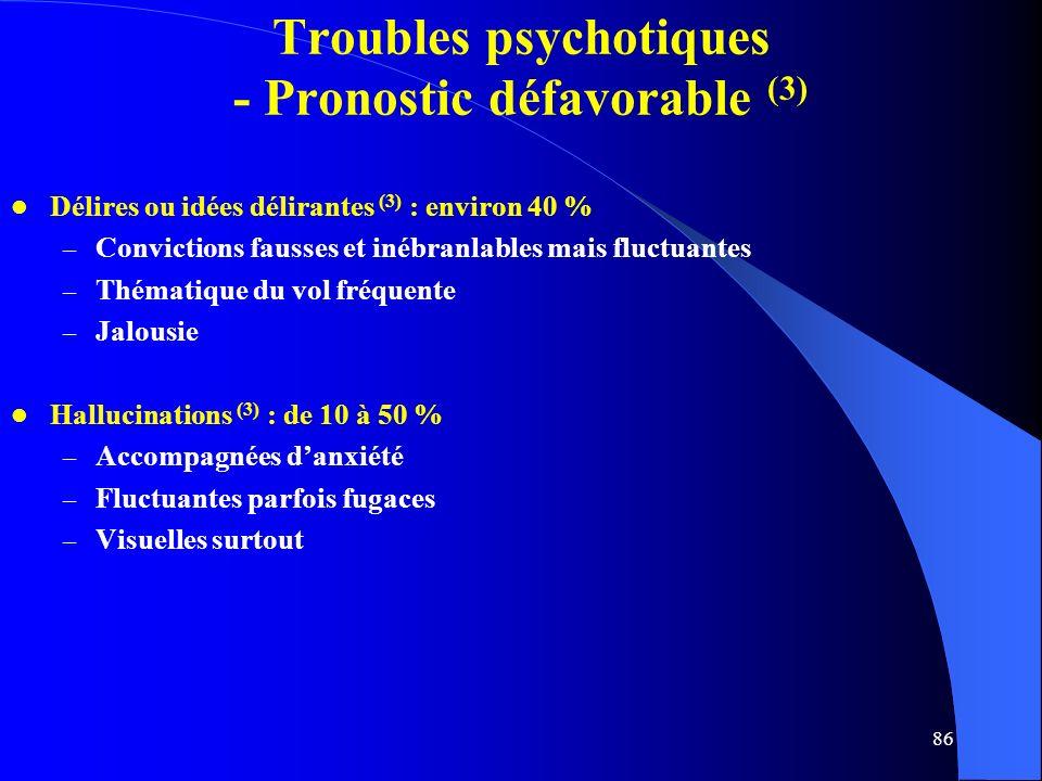 86 Troubles psychotiques - Pronostic défavorable (3) Délires ou idées délirantes (3) : environ 40 % – Convictions fausses et inébranlables mais fluctuantes – Thématique du vol fréquente – Jalousie Hallucinations (3) : de 10 à 50 % – Accompagnées danxiété – Fluctuantes parfois fugaces – Visuelles surtout