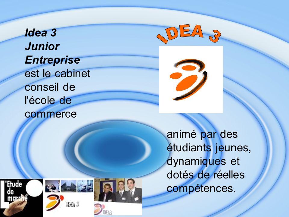 animé par des étudiants jeunes, dynamiques et dotés de réelles compétences. Idea 3 Junior Entreprise est le cabinet conseil de l'école de commerce