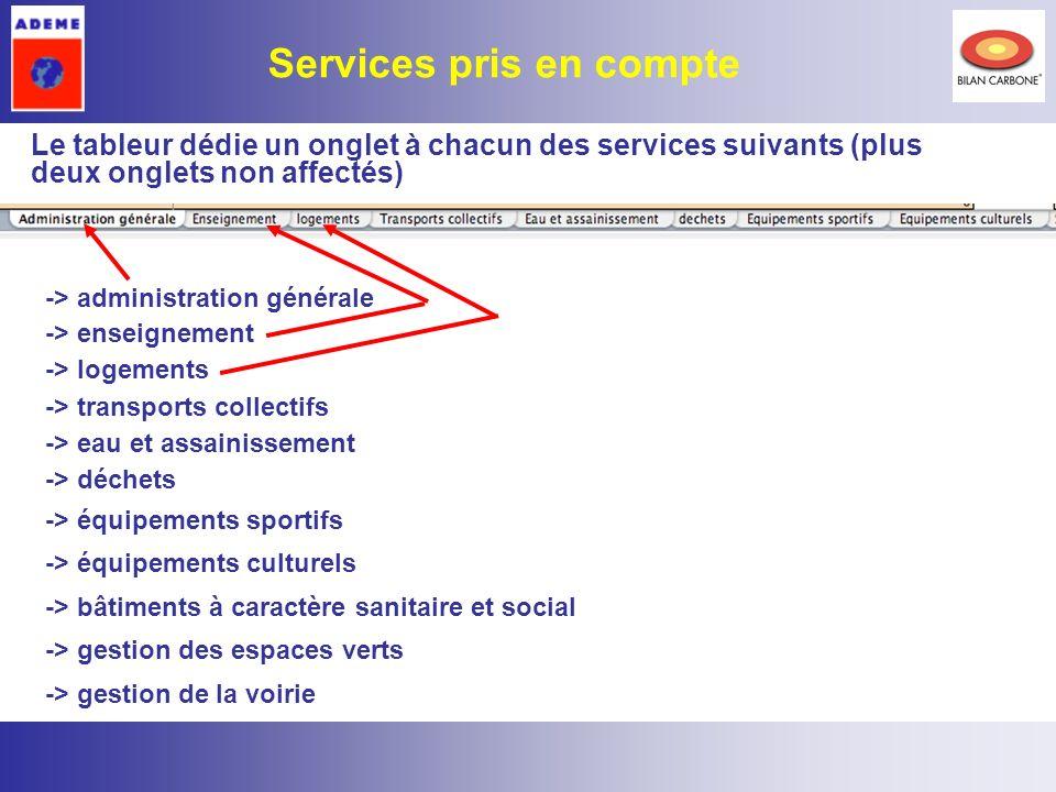 4 Le tableur dédie un onglet à chacun des services suivants (plus deux onglets non affectés) Services pris en compte -> administration générale -> ens